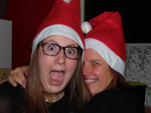 Me and my mom acting crazy at Christmas