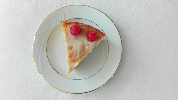 Slice of White Chocolate Raspberry Cake