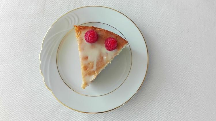 Slice of White Chocolate Raspberry Cake