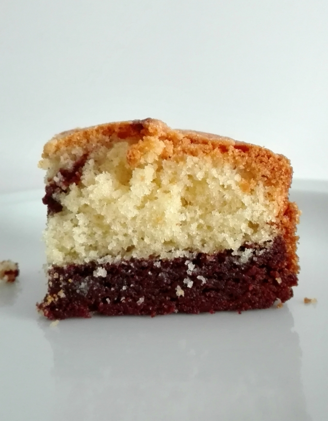 This Brownie Vanilla Cake Recipe is awesome
