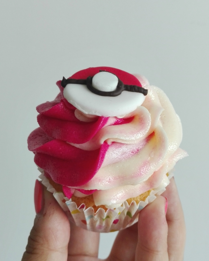 Pokemon Lemon Raspberry Poke Puff Cupcake
