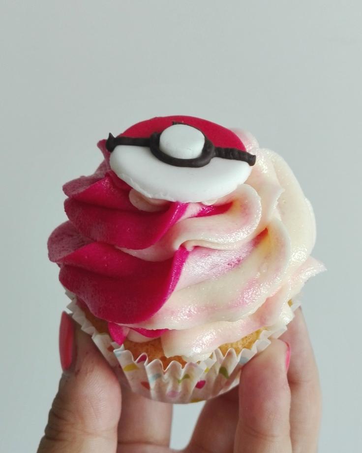 Pokemon Lemon Raspberry Poke Puff Cupcake